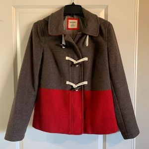 Color block wool peacoat